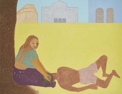 Gieve Patel, At Kala Ghoda, Lovers in Summer time, 2018, oil on canvas