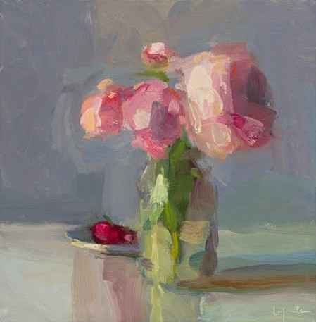 Cherries And Peonies, Christine Lafuente, Oil On Linen