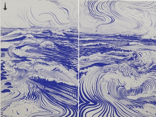 Screenprint by Brett Whiteley featuring blue lines against a white background forming an abstract ocean scene