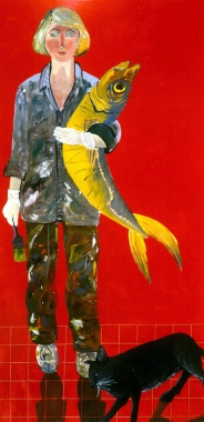 Joan Brown, Self-Portrait with Fish and Cat 1970