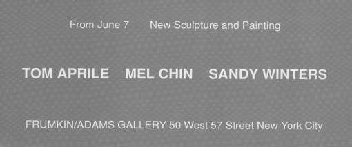 Tom April, Mel Chin and Sandy WInters 1990 exhibition announcement
