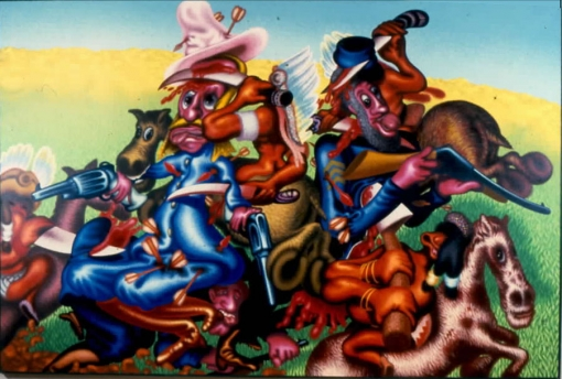 Exhibition announcement picturing Peter Saul, Custer's Last Stand 1991