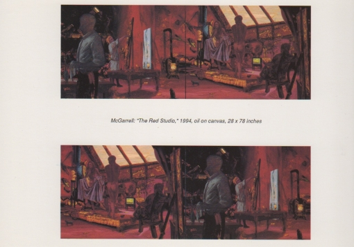 Exhibition announcement picturing James McGarrell, The Red Studio, 1994