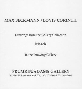 Max Beckmann & Lovis Corinth 1992 exhibition announcement