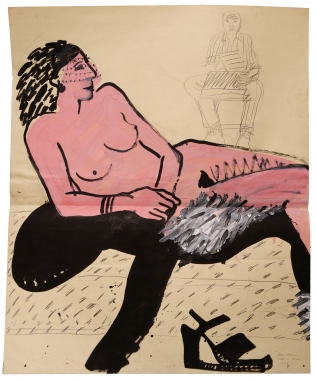 Joan Brown Model in Studio, 1973. Graphite, acrylic, ink and collage on paper, 54 x 45 inches.