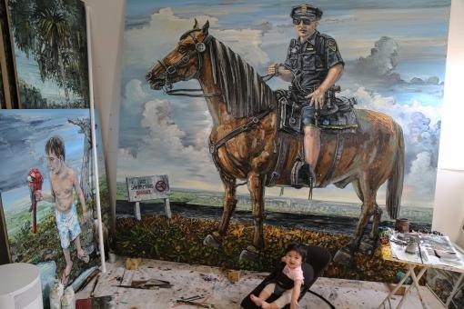 Studio View, Amer Kobaslija, River Patrol, 2018, Oil on aluminum, 60 x 68 inches.