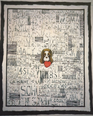 Exhibition announcement picturing Luis Cruz Azaceta, I Love New York 1992