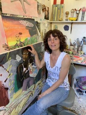Cate White in her studio, Mendocino, CA, 2021.