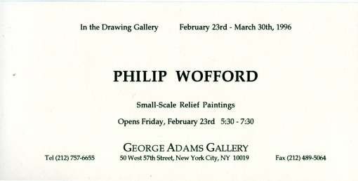 Philip Wofford: Small Scale Relief Paintings