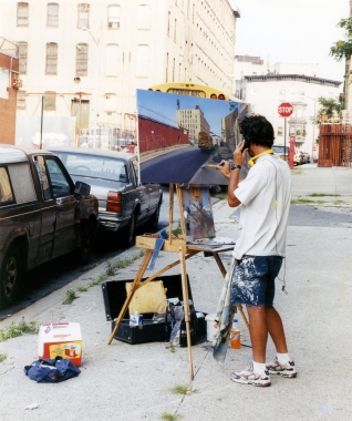 Andrew Lenaghan painting from life August 2002