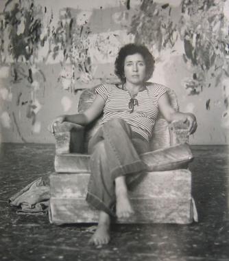 Joan Brown in her studio c. 1981