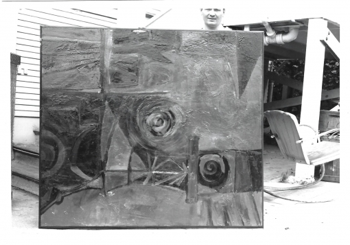 Elmer Bischoff with his Untitled painting, held sideways