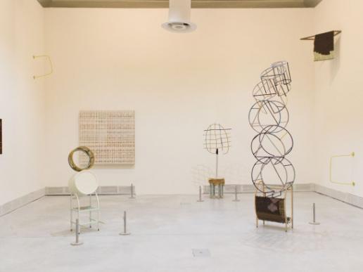 """An installation view of Suki Seokyeong Kang's """"Grandmother Tower"""" at Giardini"""