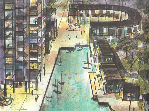 Drawing of Lake Anne Plaza