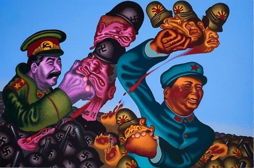Peter Saul Stalin + Mao