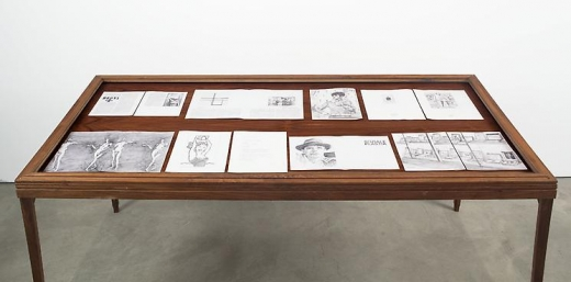 Installation view of a selection of drawings from: