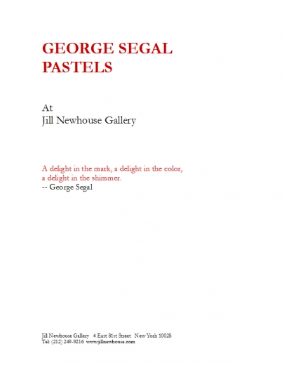 Catalogue Cover: George Segal Pastels, January 2014