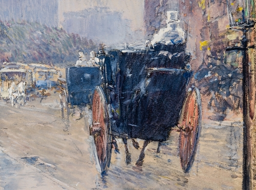 """Entrance portal to Hirschl & Adler Galleries inventory, featuring a detail of a watercolor by Childe Hassam (1859–1935), """"Rainy Day, New York"""" (1892, watercolor on paper, 15 x 10 1/4 in.)."""