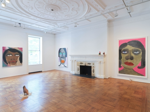 """This is an image of the February James exhibition """"When the Chickens Come Home To Roost"""" at Tilton Gallery."""