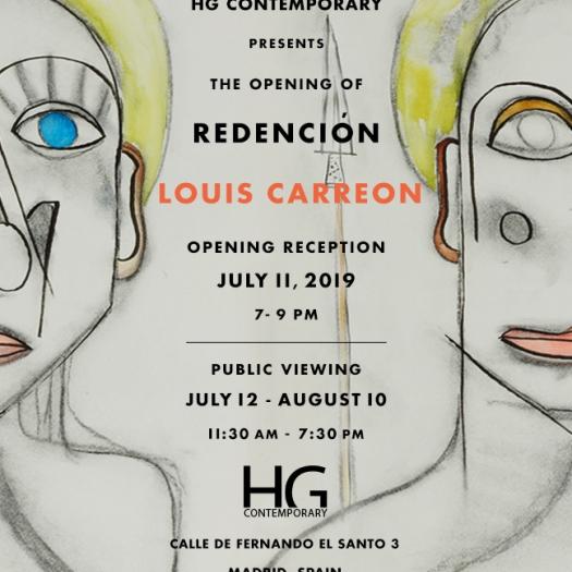 Invitation for Redención solo exhibition of Louis Carreon at Hg Contemporary Madrid
