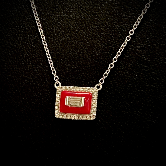 Diamond & Enamel Necklace