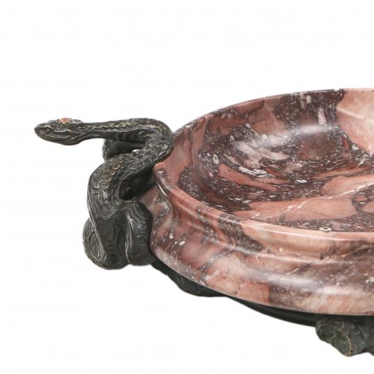 Serpents Marble & Bronze Centerpiece