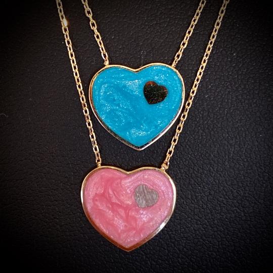 Enameled Heart Necklace
