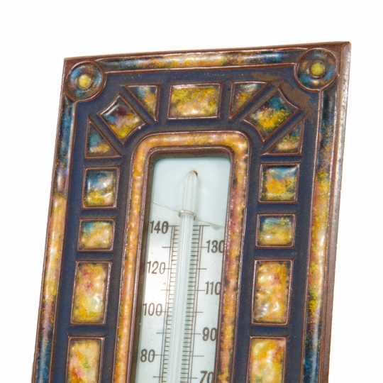 """Art Deco"" Pattern Enameled Thermometer"