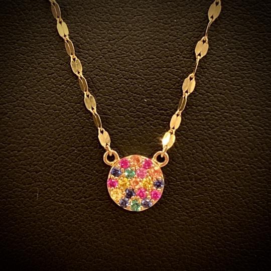 Micro Pavé Multi-Saphire Necklace