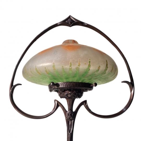 Art Nouveau Table Lamp with a Daum Nancy Shade
