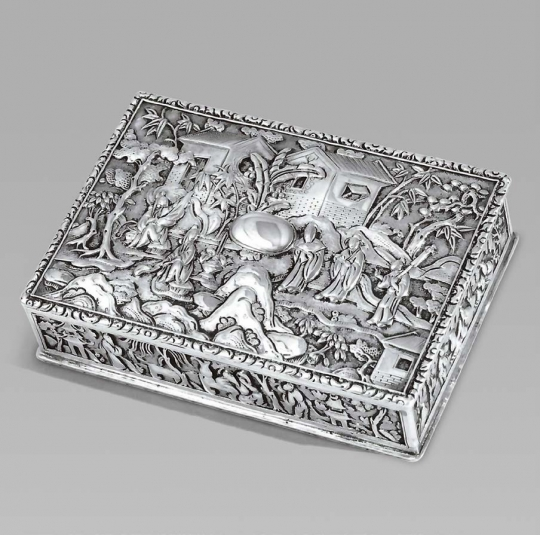 CHINESE EXPORT SILVER PRESENTATION SNUFF BOX