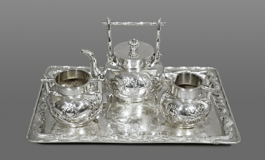 Chinese Export Silver Teaset and Tray
