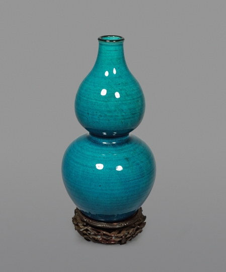 Chinese Turquoise Glazed Double Gourd Shaped Vase
