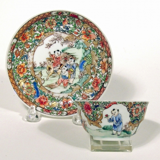 Chinese Semi-Eggshell Porcelain Cup and Saucer