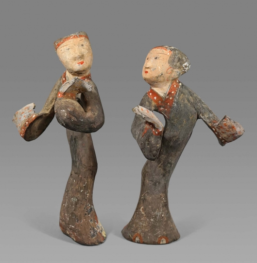 Fine Pair of Chinese Unglazed Pottery Dancers