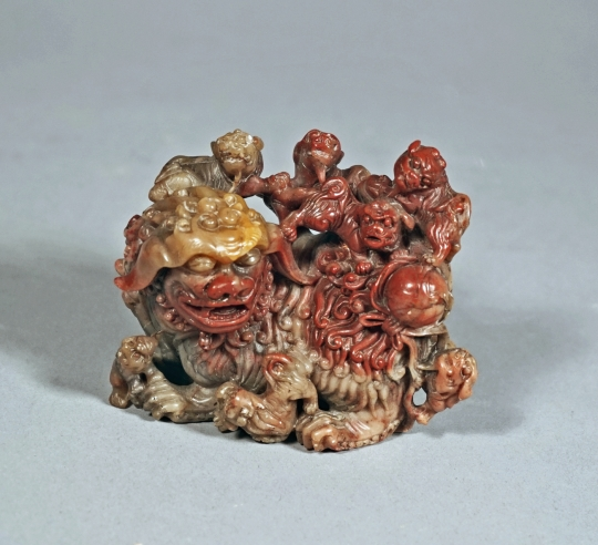 Fine Chinese Carved Soapstone Fu Lion Group