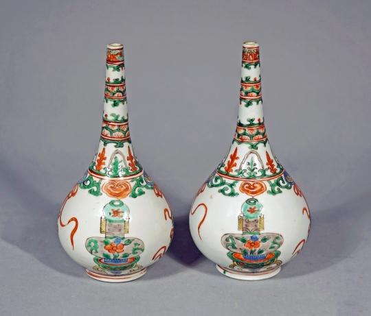 Pair of Chinese Famille Verte Porcelain Sprinklers