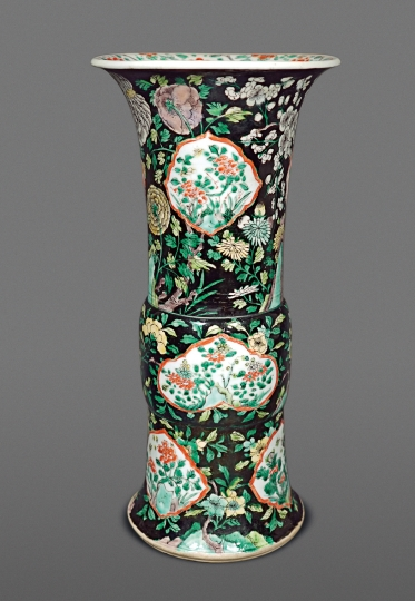 Rare Chinese Famille Noire and Verte Porcelain Beaker Vase