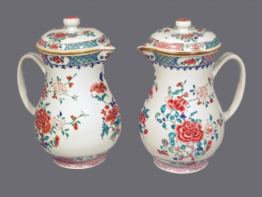 Pair of Chinese Famille Rose Porcelain Ewers