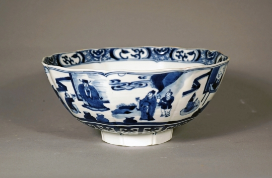 Blue and White Octagonal Bowl
