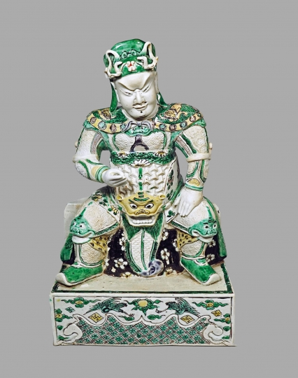 Chinese Biscuit Porcelain Figure of Guandi