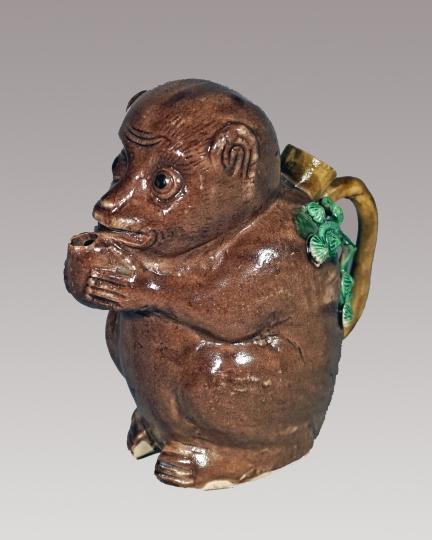 Rare Chinese Aubergine Glazed Biscuit Porcelain Monkey Ewer