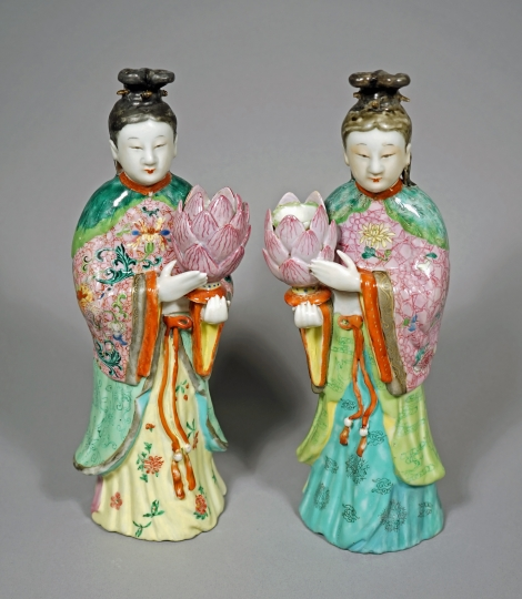 Fine Pair of Chinese Export Famille Rose Figural Candleholders