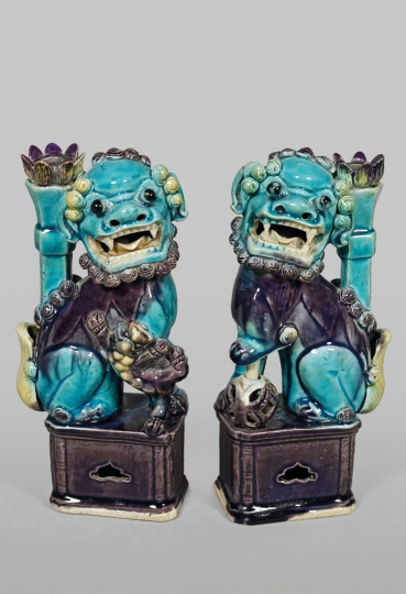 Pair of Chinese Fahua Glazed Porcelain Fu Dogs
