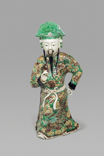 Fine Chinese Famille Verte Glazed Biscuit Porcelain Figure of an Immortal/ Official