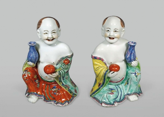 Pair of Chinese Export Porcelain Figures of Seated Lohans