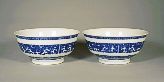 Fine Pair of Chinese Blue and White Soft Paste Porcelain Bowls
