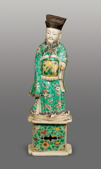 Fine Chinese Famille Verte Glazed Biscuit Porcelain Figure of the Daoist Immortal Lu Dongbin