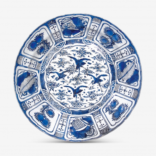 Fine Large Chinese Blue and White Kraak Porcelain Charger