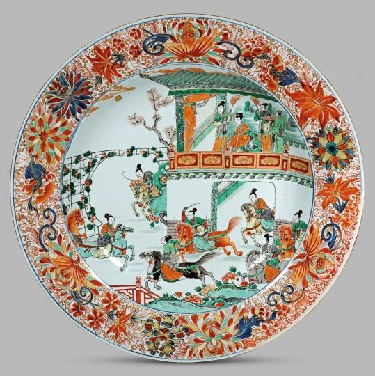 Large Chinese Famille Verte/ Imari Porcelain Plate